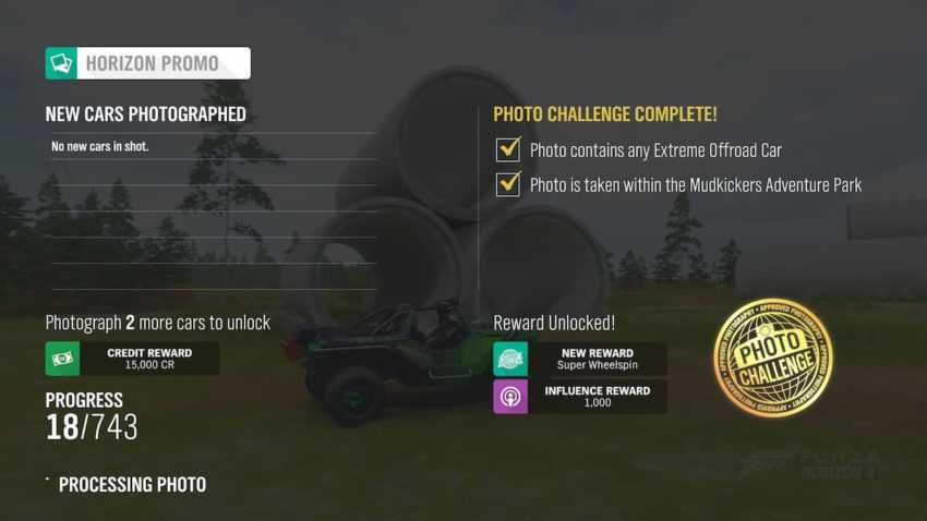 Forza Horizo​​n 4:Mudkickers Park Extreme Offload Weekly Photo Challengeを完了する方法(3月18日)